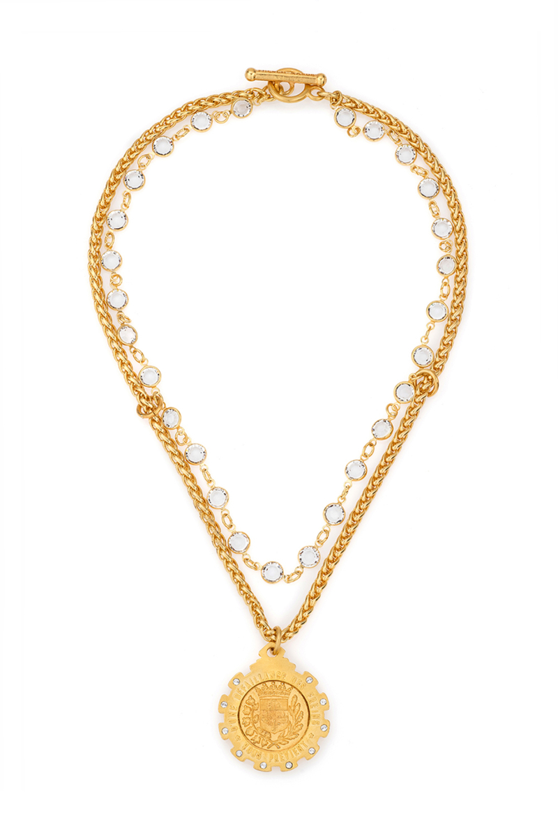 CHEVAL CHAIN AND SWAROVSKI WITH GUSTAVE MEDALLION