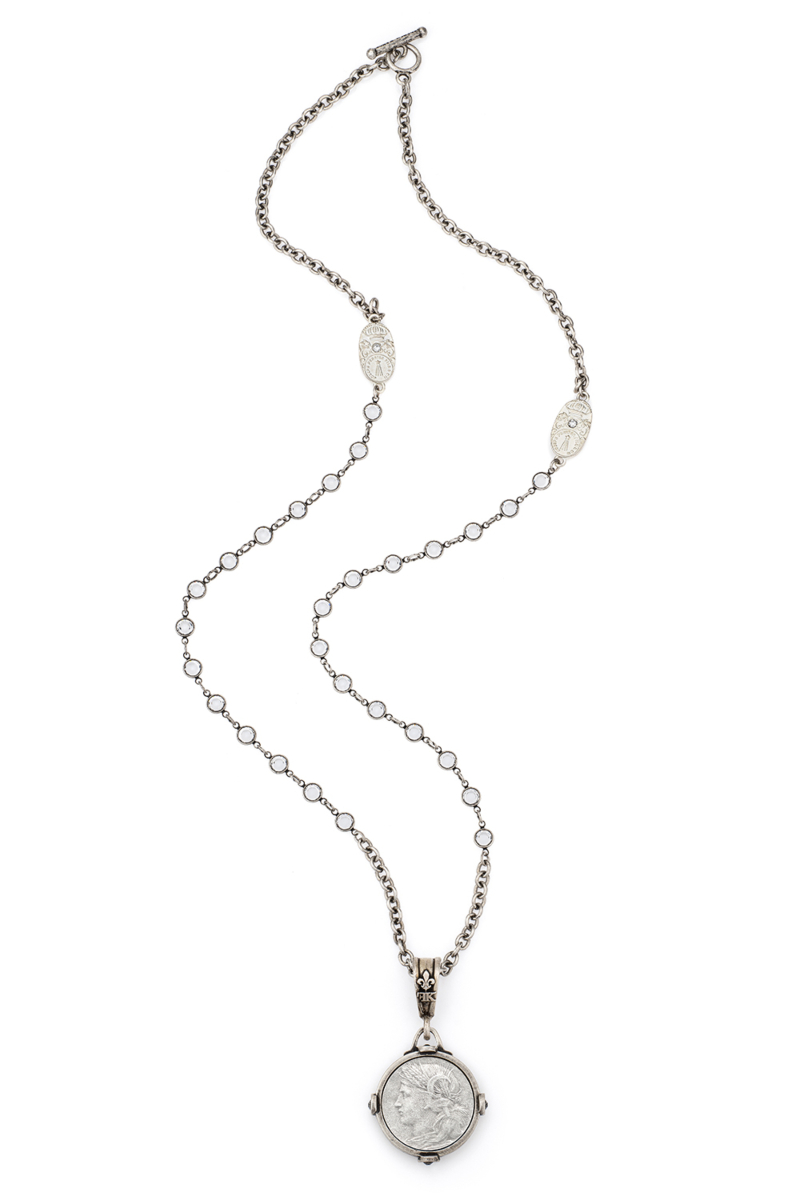 SWAROVSKI AND CABLE CHAIN WITH DUPUIS MEDALLION