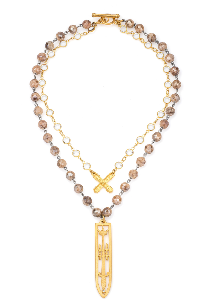 DOUBLE STRAND APRICOT DRUZY AND SWAROVSKI, PETITE FRENCH KISS AND SWORD & CROWN PENDANT