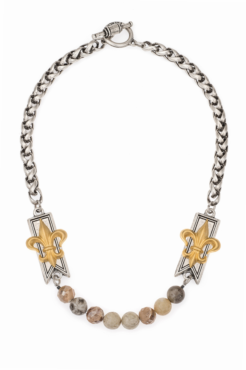 CHEVAL CHAIN WITH BAR FLEUR STACK PENDANTS AND SUNRISE MIX
