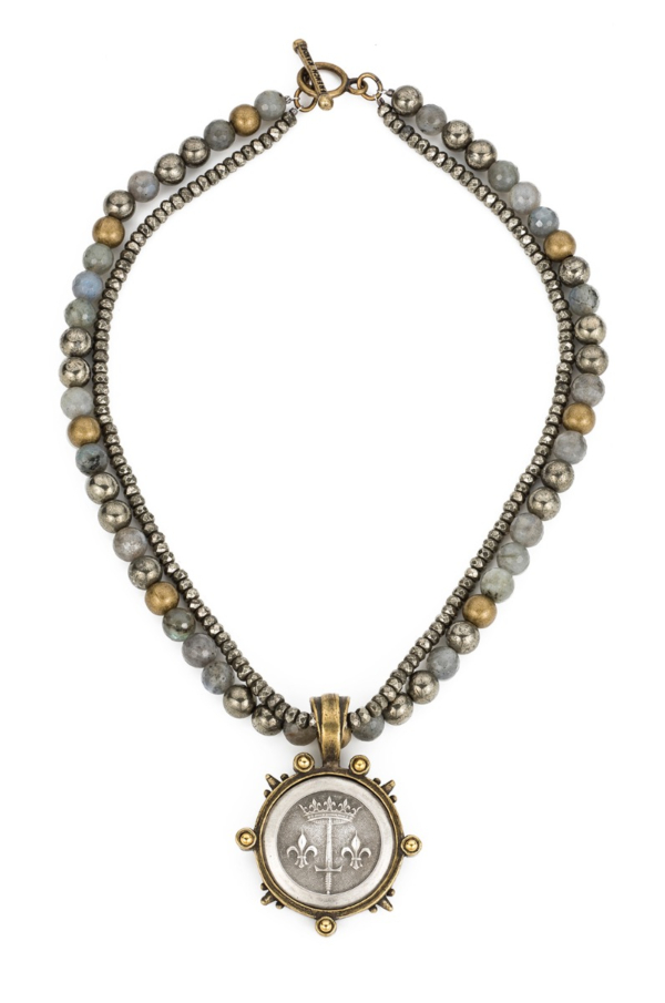 DOUBLE STRAND COASTAL MIX AND PYRITE WITH LA JEANNE MEDALLION