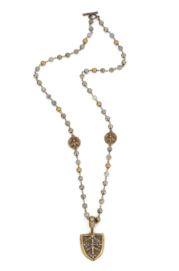 COASTAL MIX WITH BRASS WIRE, MINI ABEILLE MEDALLIONS AND CHEVAL CROSS STACK MEDALLION