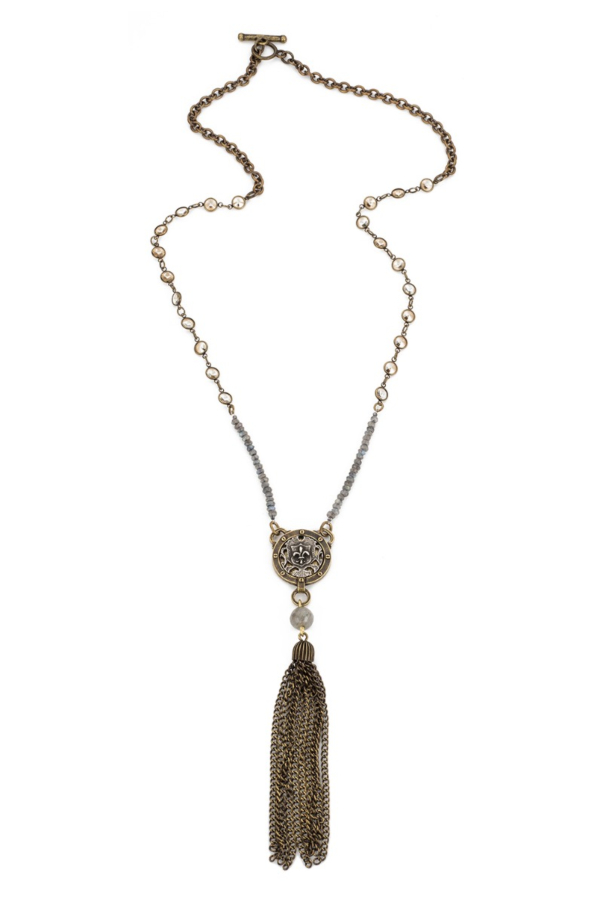 SWAROVSKI AND LABRADORITE WITH MINI FLEUR MEDALLION AND TASSEL