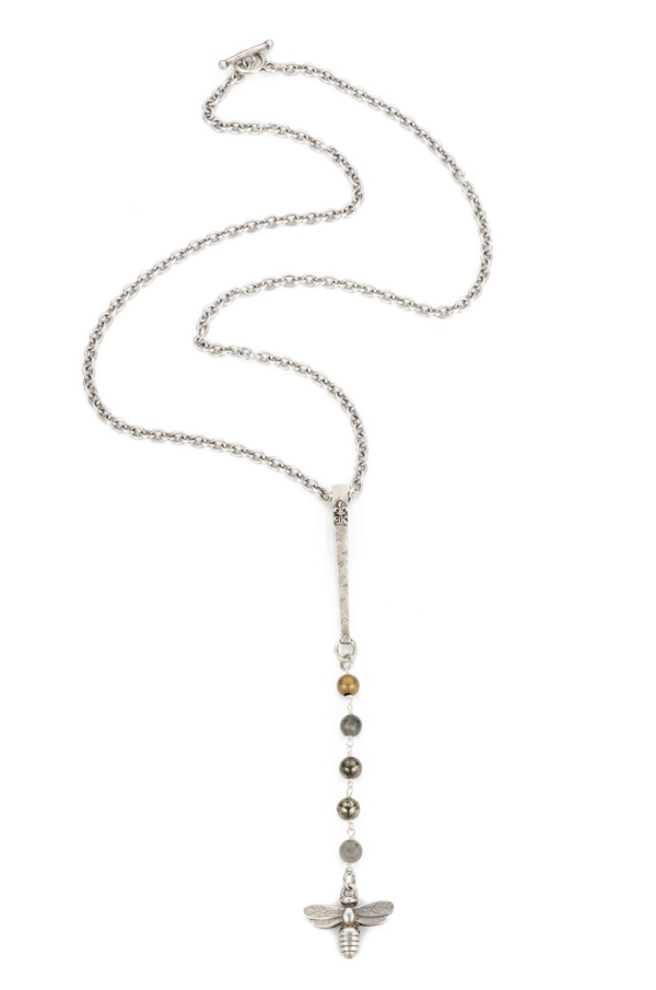 CABLE CHAIN WITH COASTAL MIX ACCENTS, SWAROVSKI LONG BAIL AND MIEL PENDANT