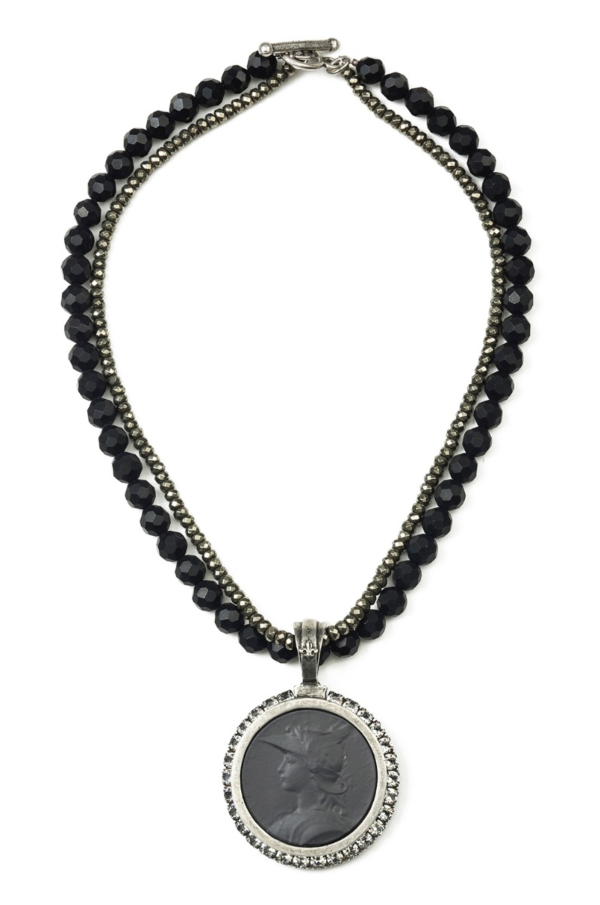 DOUBLE STRAND FACETED BLACK ONYX AND PYRITE WITH MINISTRY MEDALLION