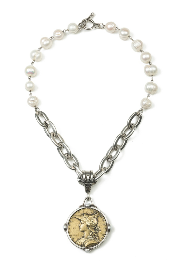PEARLS WITH SILVER WIRE, LOURDES CHAIN AND MINISTRY MEDALLION