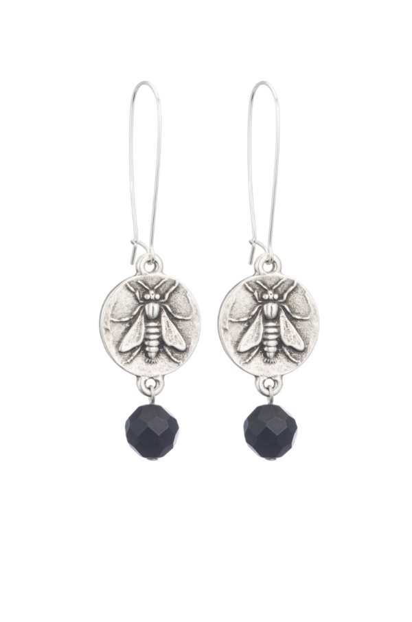 DROP EARRINGS WITH MINI ABEILLE MEDALLION AND BLACK ONYX