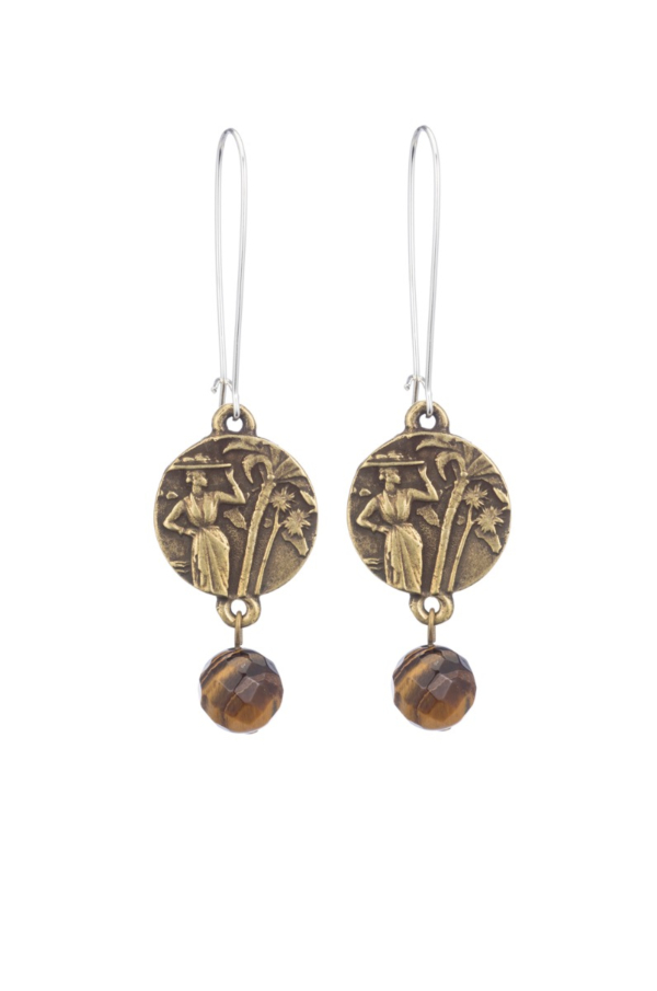 DROP EARRINGS WITH MINI COLOMBIE MEDALLION AND TIGER'S EYE