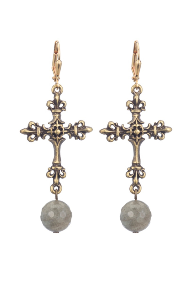 BRASS FDL CROSS EARRINGS WITH GREY LABRADORITE