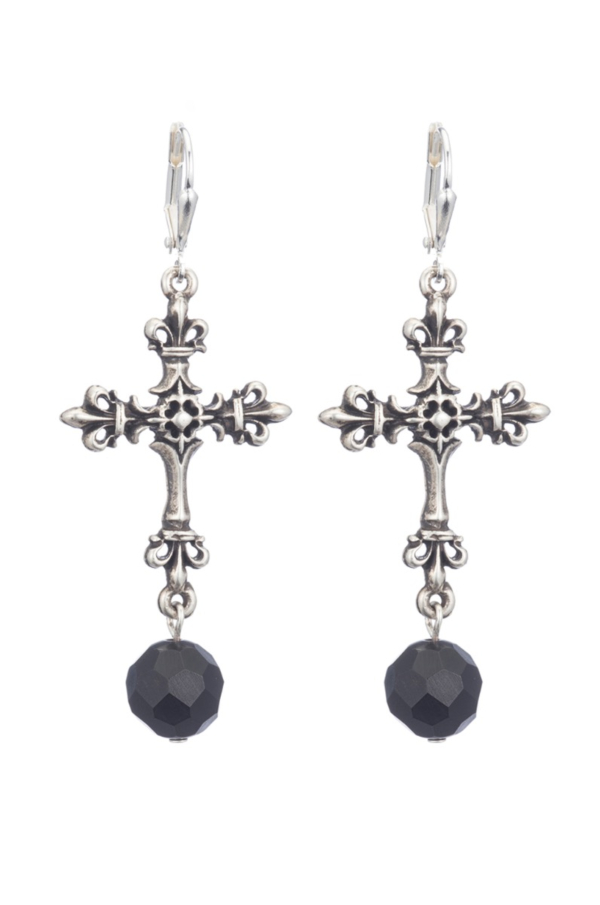 SILVER FDL CROSS EARRINGS WITH BLACK ONYX