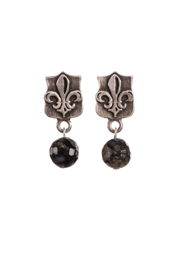 MINI FLEUR DES LIS STUDS WITH FACETED SHADOW OPAL DANGLE