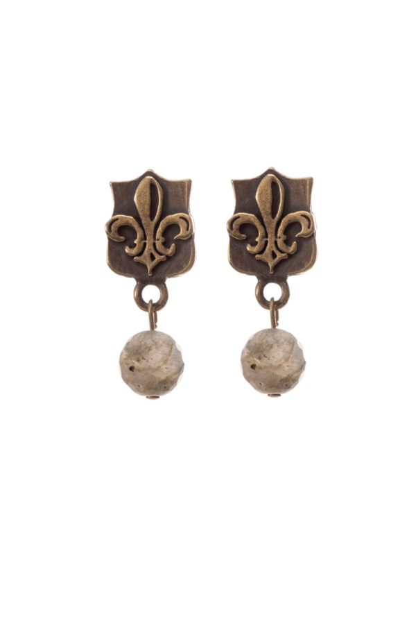 MINI FLEUR DES LIS STUDS WITH FACETED GREY LABRADORITE DANGLE