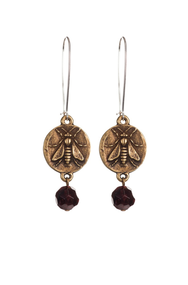 DROP EARRINGS WITH MINI ABEILLE MEDALLION AND FACETED GARNET