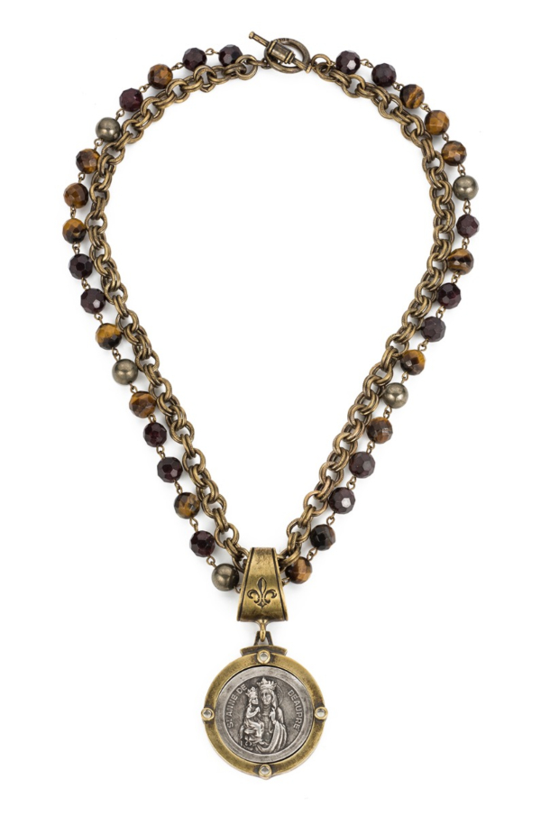 DOUBLE STRAND TIGER'S EYE MIX WITH BRASS WIRE, PROVENCE CHAIN AND SAINT ANNE MEDALLION