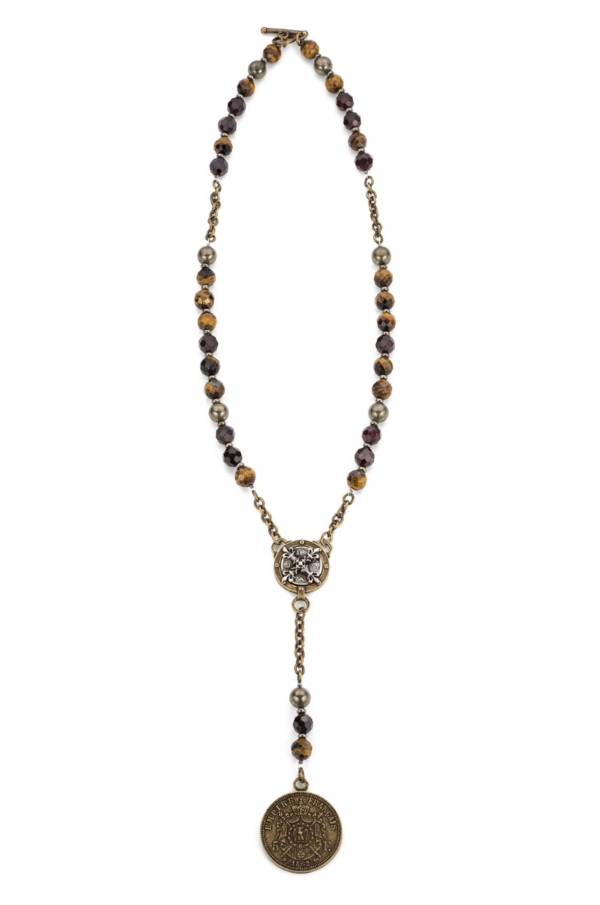 TIGER'S EYE MIX WITH BRASS CHAIN, X AND EMPIRE MEDALLIONS
