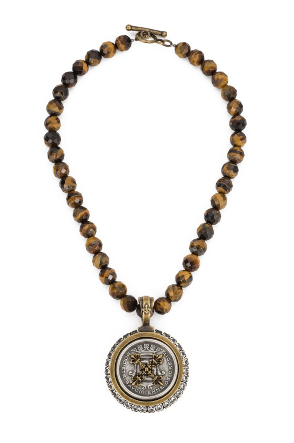 FACETED TIGER'S EYE WITH CENTENNIAL X STACK MEDALLION