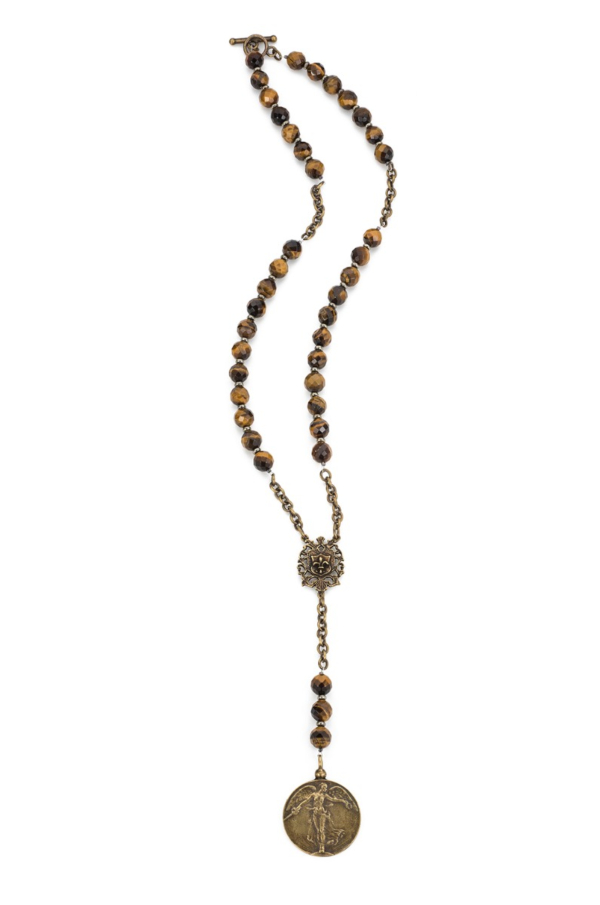 FACETED TIGER'S EYE WITH BRASS CHAIN AND L'ANGE MEDALLION