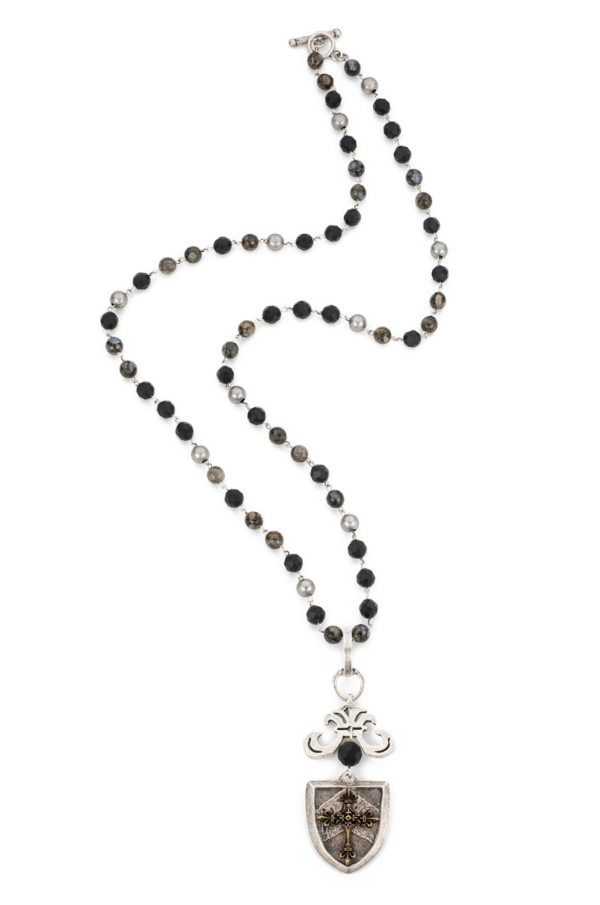 SHADOW OPAL MIX WITH SILVER WIRE AND CHEVAL CROSS STACK MEDALLION