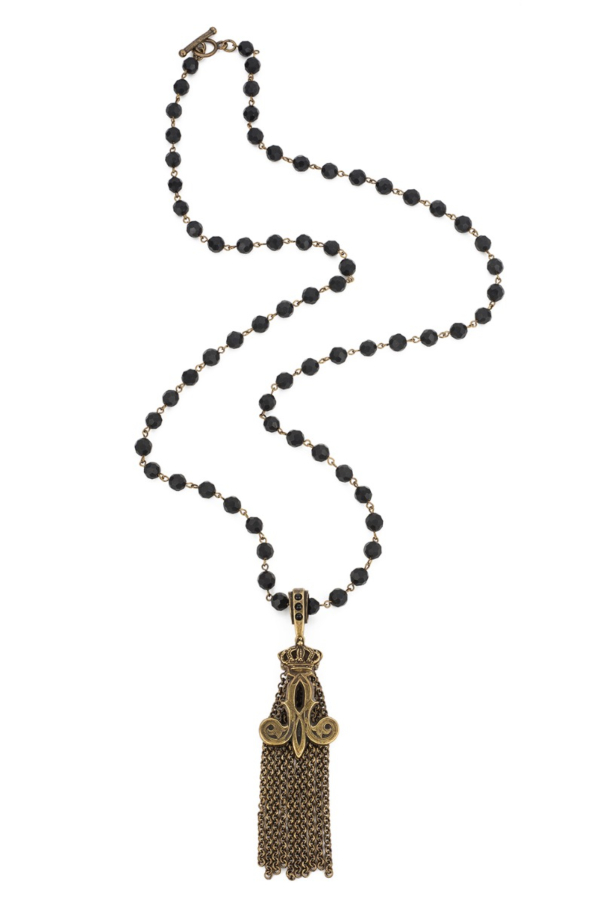 FACETED BLACK ONYX WITH BRASS WIRE AND CROWN TASSEL