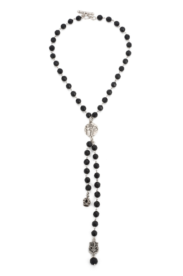 FACETED BLACK ONYX WITH MINI COLOMBIE MEDALLION, CROWN AND FDL DANGLE