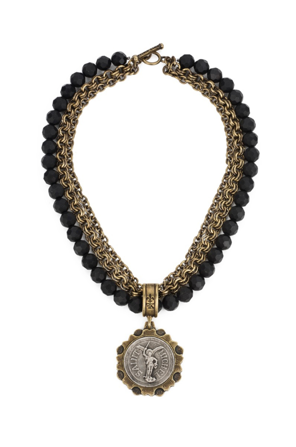 TRIPLE STRAND FACETED BLACK ONYX AND CHAINS WITH SAINT MICHEL MEDALLION
