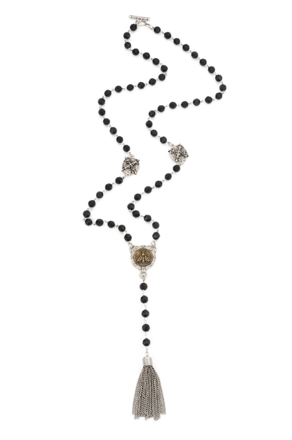 FACETED BLACK ONYX WITH SIVER WIRE, X CONNECTORS, MINI ABEILLE MEDALLION AND TASSEL