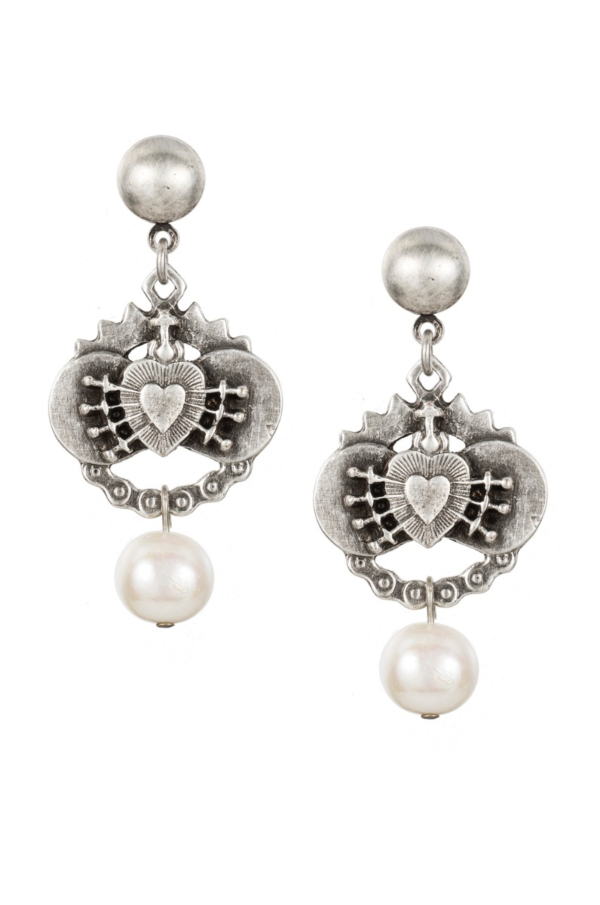 SILVER IMMACULATE HEART EARRINGS WITH PEARL