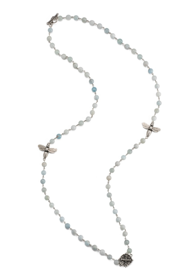 FACETED AQUAMARINE WITH SILVER WIRE, MIEL PENDANTS AND X MEDALLION