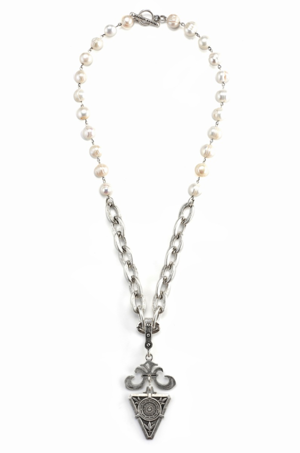 PEARLS WITH SILVER WIRE, LOURDES CHAIN AND DE LA VILLE MEDALLION