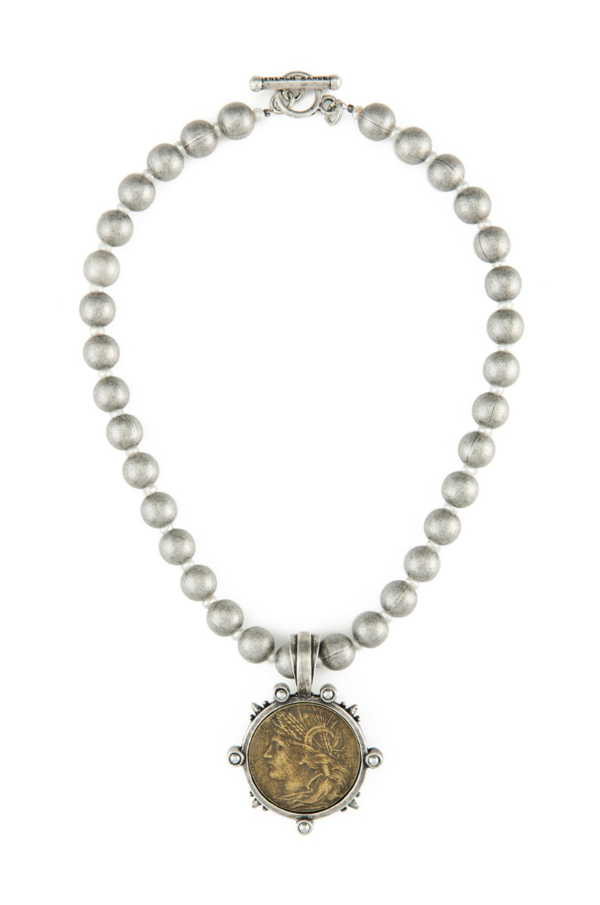 SILVER METAL BEAD AND STERLING HEMATITE WITH DUPUIS MEDALLION