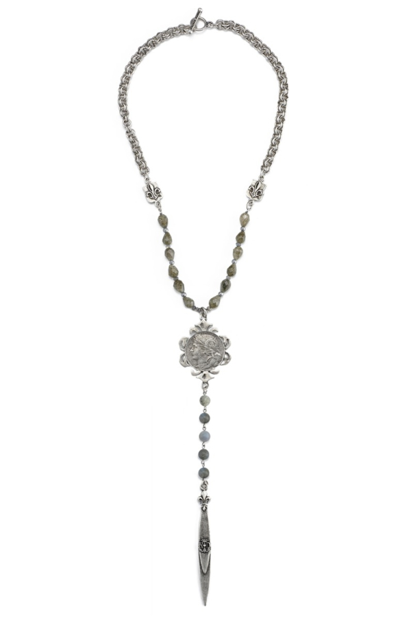 LABRADORITE, HEMATITE, QUARTZ AND PROVENCE CHAIN WITH DUPUIS MEDALLION AND POINTU PENDANT