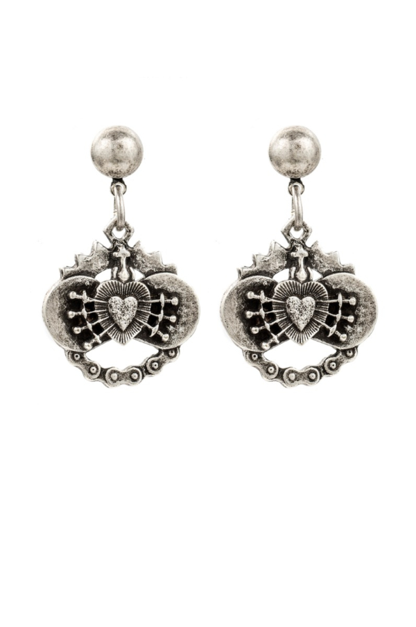 SILVER IMMACULATE HEART EARRINGS