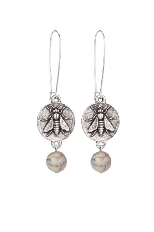 DROP EARRINGS WITH MINI ABEILLE MEDALLION AND AFRICAN OPAL