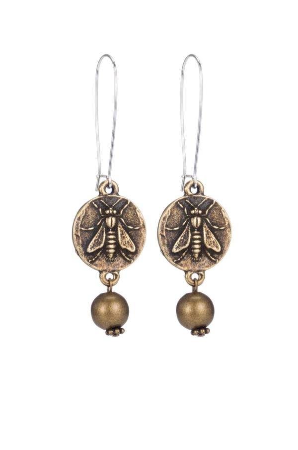 DROP EARRINGS WITH MINI ABEILLE MEDALLION AND BRASS METAL BEAD