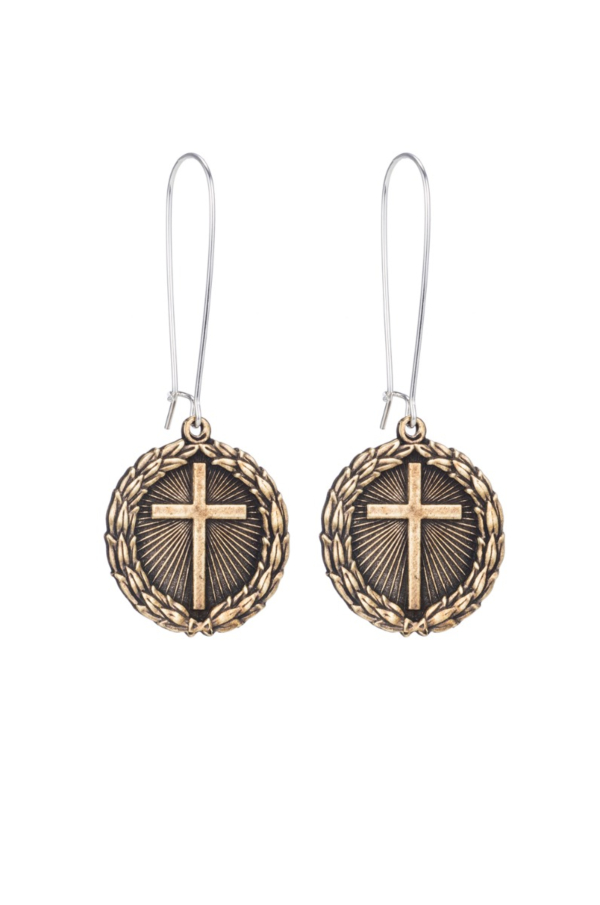 DROP EARRINGS WITH BRASS LAUREL CROSS