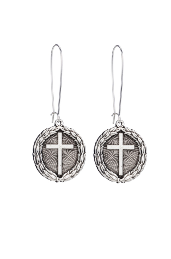 DROP EARRINGS WITH SILVER LAUREL CROSS