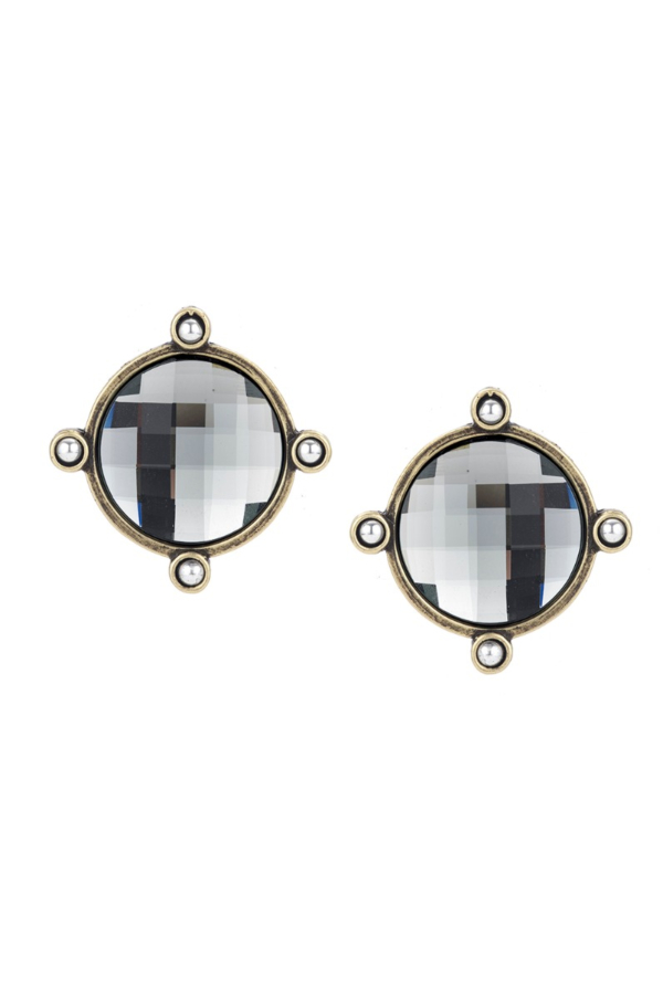 BRASS BLACK DIAMOND SWAROVSKI OREILLE EARRINGS