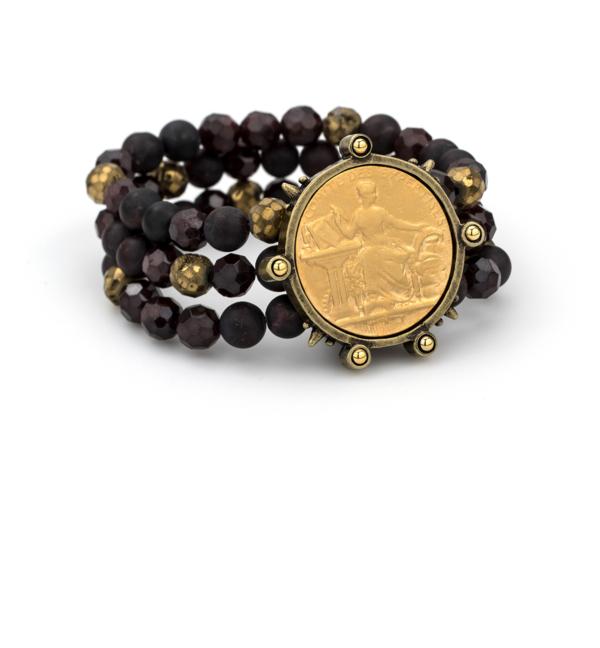 TRIPLE STRANDED GOLDEN GARNET MIX WITH 24K GOLD COMITE MEDALLION
