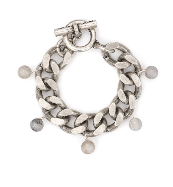 SILVER BEVEL CHAIN WITH ASHEN SILK MIX DANGLES