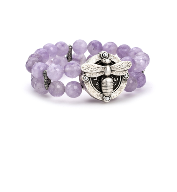 DOUBLE STRAND FACETED AMETHYST AND MIEL PENDANT