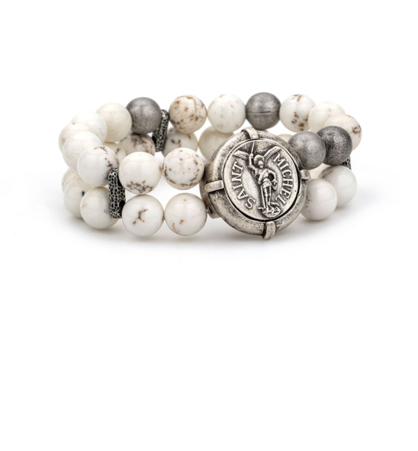DOUBLE STRANDED WHITE TURQUOISE WITH SILVER BEAD ACCENTS AND MINI SAINT MICHEL MEDALLION