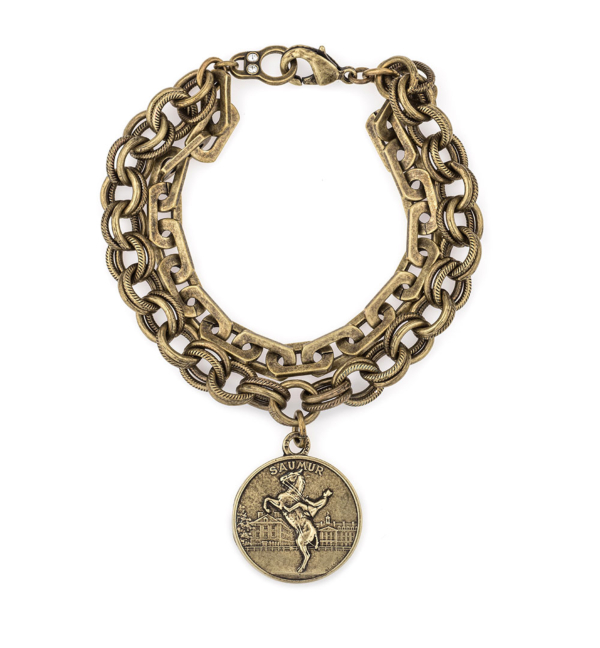 BRASS DOUBLE STRAND HONFLEUR AND PROVENCE CHAINS WITH SAUMUR MEDALLION