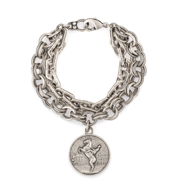 SILVER DOUBLE STRAND HONFLEUR AND PROVENCE CHAINS WITH SAUMUR MEDALLION