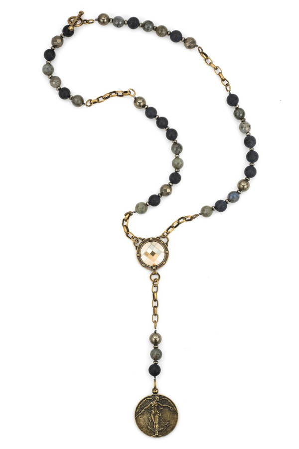 MIDNIGHT MIX AND PYRITE WITH SWAROVSKI CABOCHON AND L'ANGE MEDALLION