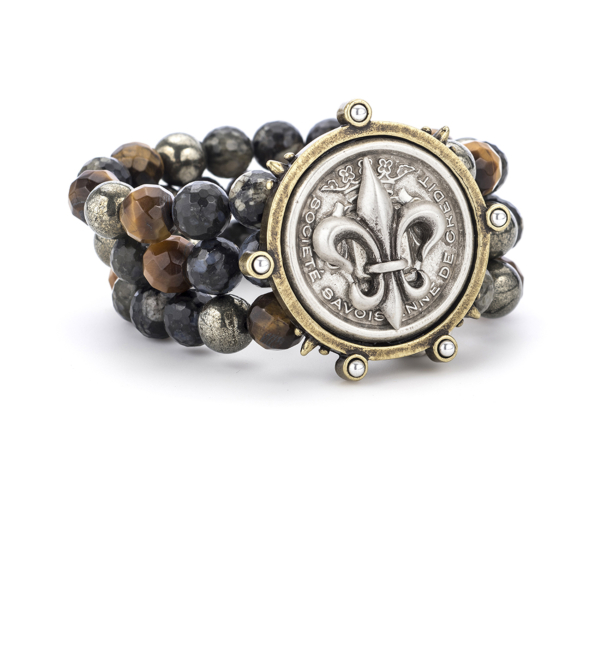 TRIPLE STRAND CHARBON MIX WITH CENTENNIAL FLEUR STACK MEDALLION