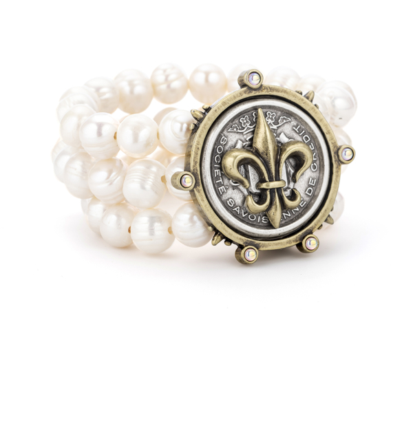 TRIPLE STRAND WHITE PEARL WITH CENTENNIAL FLEUR STACK MEDALLION