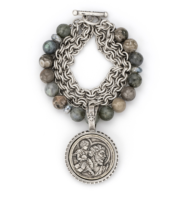 TRIPLE STRANDED CHAIN AND MEDITERRANEAN MIX WITH ST. CHRISTOPHER MODERN MEDALLION