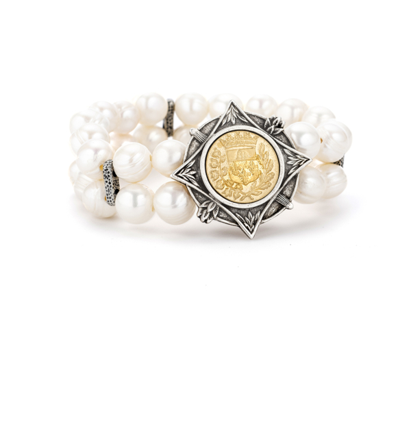 DOUBLE STRAND WHITE PEARL WITH 24K GOLD GUSTAVE MEDALLION