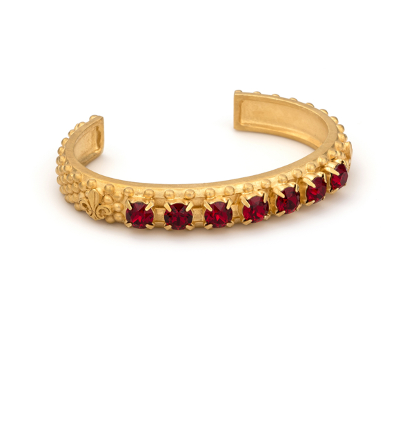 GOLD RUBY SWAROVSKI FLEUR DE LIS BANGLE