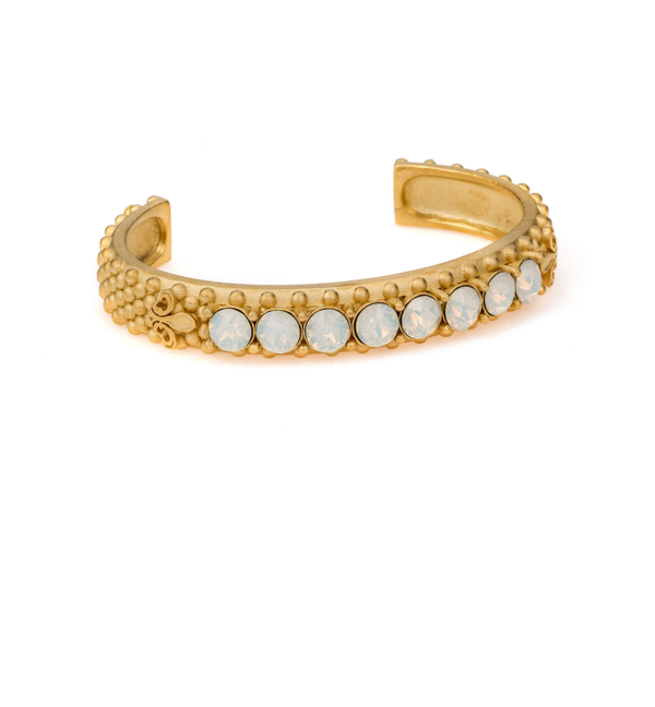 GOLD WHITE OPAL SWAROVSKI FLEUR DE LIS BANGLE